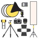 Camera photo vector studio icons optic lenses types objective retro photography equipment professional photographer look. Camera photo studio optic lenses types Stock Images