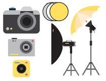Camera photo vector studio icons optic lenses types objective retro photography equipment professional photographer look. Camera photo studio optic lenses types Royalty Free Stock Images