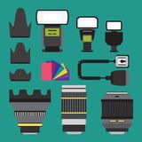Camera photo vector studio icons optic lenses types objective retro photography equipment professional photographer look. Camera photo studio optic lenses types Royalty Free Stock Image