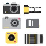Camera photo vector studio icons optic lenses types objective retro photography equipment professional photographer look. Camera photo studio optic lenses types Royalty Free Stock Photos