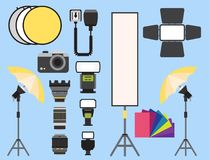 Camera photo vector studio icons optic lenses types objective retro photography equipment professional photographer look. Camera photo studio optic lenses types Stock Image