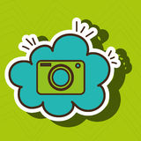 Camera photographic cloud icon. Camera green photographic cloud blue icon  illutration eps 10 Royalty Free Stock Photo