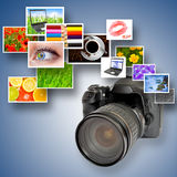 Camera and photographs Royalty Free Stock Photo