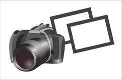 Camera with photographs on white background Stock Images