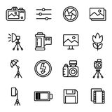 Camera And Photography Icons and Camera. Accessories Icons with White Background Stock Photo