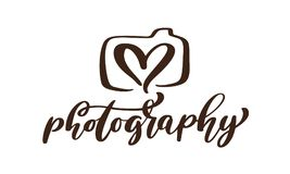 Camera photography logo icon vector template calligraphic inscription photography text Isolated on white background.  Stock Illustration