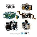 Camera photography  set collection illustration. Logotypes Royalty Free Stock Photos