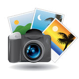 Camera and photos Stock Photography