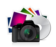 Camera photos and cd illustration design Royalty Free Stock Photography