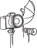 Camera, photoumbrella and flash Royalty Free Stock Photos