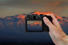 Camera Picture of Mountains at Sunset stock image