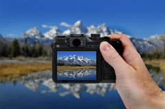 Camera Picture Teton Mountains Stock Photography