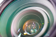 Camera professional lens closeup photo Royalty Free Stock Images