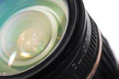 Camera professional lens closeup photo. Colorful macro image stock photography