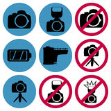 Camera prohibiting and permissive signs set Stock Image