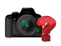 Camera question mark Royalty Free Stock Photography