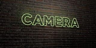 CAMERA - Realistisch Neonteken op Bakstenen muurachtergrond - 3D teruggegeven royalty vrij voorraadbeeld Royalty-vrije Stock Foto