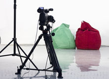 Camera rec. Camera takes the chair on a white background Royalty Free Stock Images