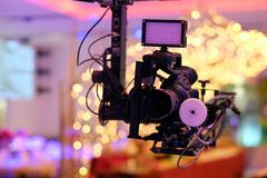 Camera record on crane in production on wedding .Close-up. stock image