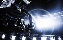 Camera record on crane on stage entertainment industry Stock Images