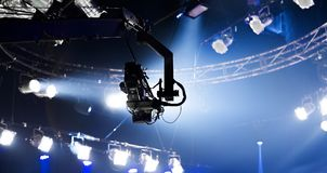 Camera record on crane on stage entertainment industry. Camera record on crane in production on studio and light to stage for entertainment industry Stock Photography