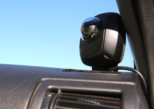 Camera recording equipment in Traffic police car Royalty Free Stock Photography