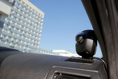 Camera recording equipment in Traffic police car Royalty Free Stock Image