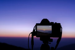 The camera is recording the sunrise Royalty Free Stock Photo