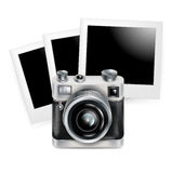 Camera retro icon with photos isolated Stock Photo