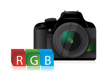 Camera rgb color cubes Stock Image