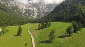 Camera Rising Above Beautiful Mountain Road In Slovenia At Summer stock video