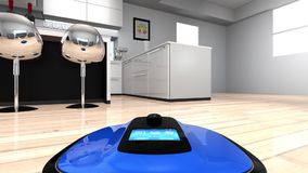Camera on a robot vacuum cleaner to showing the cleaner's movement in first-person perspective stock video footage