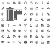 Camera roll, Film, Tape icon. Media, Music and Communication vector illustration icon set. Set of universal icons. Set of 64 icons.  Stock Image