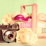 Camera and rose Royalty Free Stock Photo
