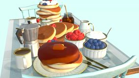 Table on which breakfast with pancakes and berries stock video footage