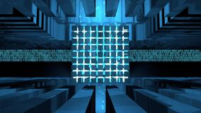 Computer core formed by cubes illuminated with blue light inside a metal structure receiving binary information lines that come ou stock footage