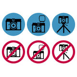 Camera round icons set Stock Photos