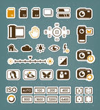 Camera screen icons set Royalty Free Stock Image