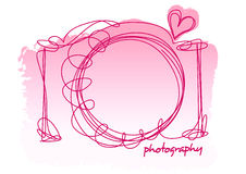 Camera scribble with a heart on a white background Stock Photo