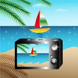 Camera. And sea view on sumer beautiful boat vector illustration