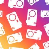 Camera seamless pattern background. Business flat vector illustr. Ation. Camera sign symbol pattern Stock Photos