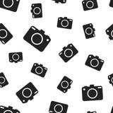 Camera seamless pattern background. Business flat vector. Illustration. Photocamera symbol pattern Stock Photo