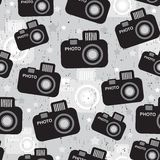 Camera seamless pattern. Vector texture in retro style Stock Photos