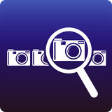 Camera search. Searching a camera to buy stock illustration