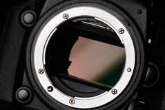 Camera sensor. Digital camera full frame sensor and lens mount close-up Royalty Free Stock Photography