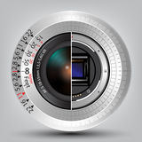 Camera sensor and lens with scale  background Stock Photos