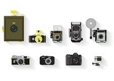 Camera set . flat graphic history of camera Stock Photography