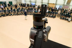 Camera set for a group photo Royalty Free Stock Images