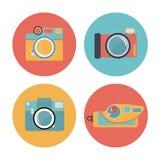 Camera set 01. Pastel icon old film camera set Royalty Free Stock Photo
