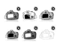 Camera set, sketch for your design Royalty Free Stock Image